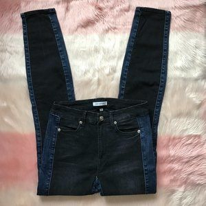Good American Color Block Jeans Black & Blue Denim